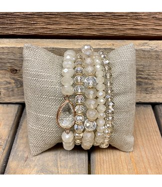Neutrals Crystal Stretch Bracelet Sets