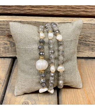 3 grey and pearl bracelets, gold