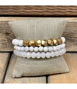 Triple Stack Howlite Bracelet with Gold Beads
