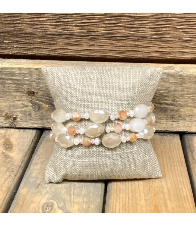 Triple Strand Faceted Crystal Bead Bracelet