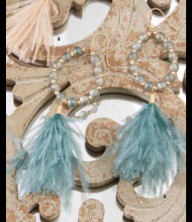 Beaded Teardrop Earrings With Feather Tassel