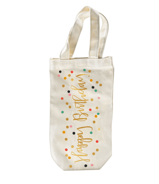 Canvas Wine Bag Happy Birthday Confetti