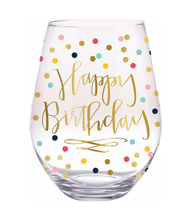 Stemless Wine Glass Birthday Confetti 30oz