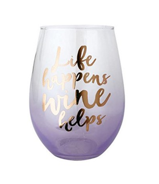 Life Happens Wine Helps Wine Glass 20 oz