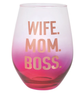 Wife Mom Boss Wine Glass 30 oz