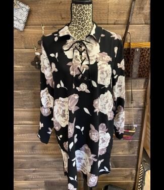 Mud Pie Kinsley Laceup Dress/Tunic  Black Floral Medium