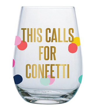 Calls For Confetti Wine Glass 20 oz