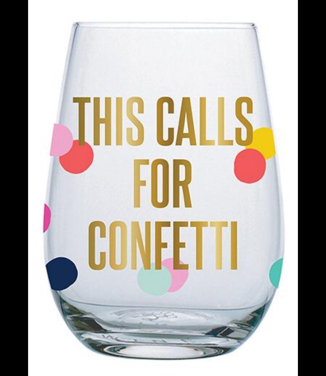 Calls For Confetti Wine Glass 20 oz