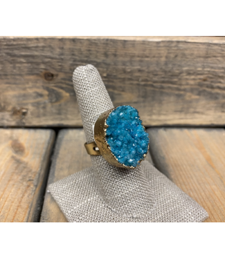 Desert Druzy Gold Edge Ring
