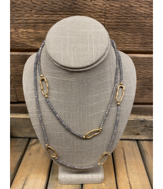 Lavender Crystal with Gold Hoops Necklace