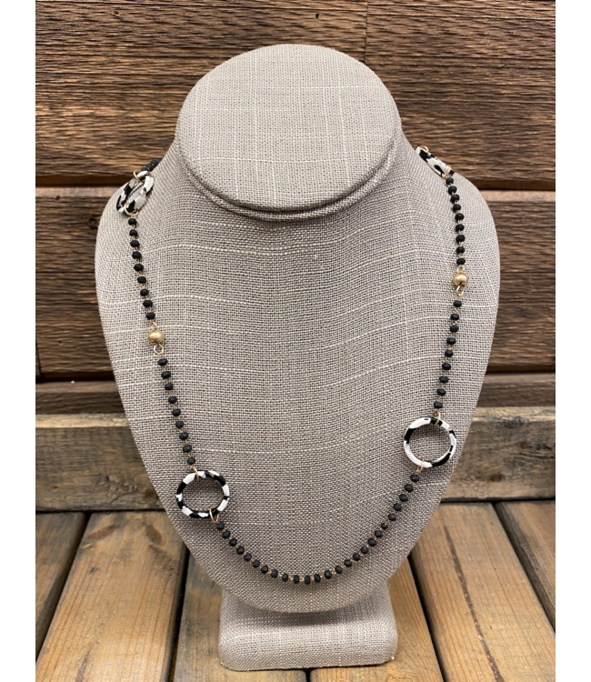 Matte Black Bead and Acrylic Hoop Necklace