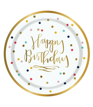Happy Birthday Confetti Paper Plate 7in 8CT