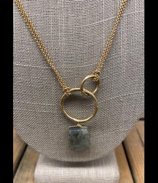 Double Hoop Labradorite Necklace
