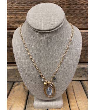 Striped Slate and Hoop Necklace