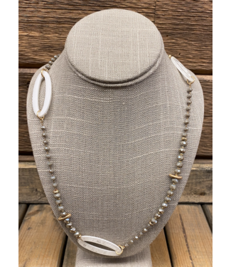 Open White Acrylic with Grey Beads Layering Necklace