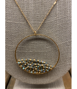 Ocean Beaded Hoop Necklace