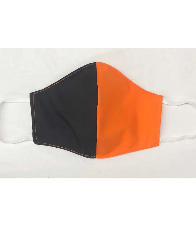 Face Mask with Filter - Black and Orange Two Tone