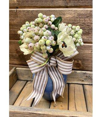 Custom made Poppy Berry Arrangement in Blue Vase