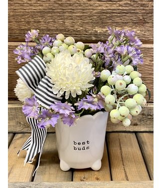 Custom Floral Arrangement in best buds footed pot