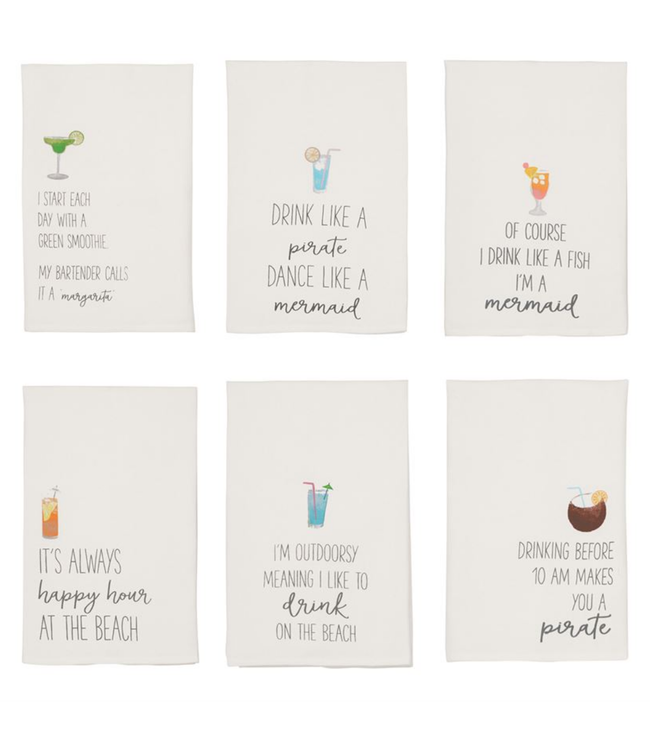 Mud Pie Beach Drinking Hand Towels