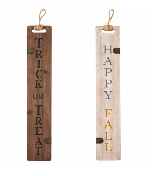 Mud Pie TRICK OR TREAT / HAPPY FALL REVERSIBLE SIGN