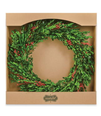 Mud Pie PRESERVED BERRY BOXWOOD WREATH
