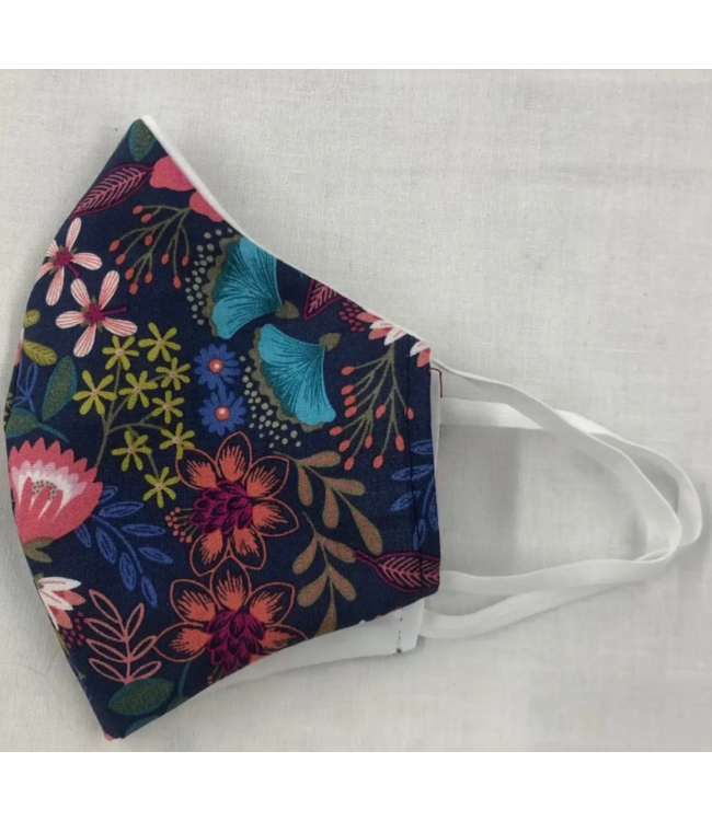 Face Mask with Filter - Navy with Flowers