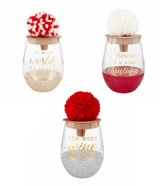 Mud Pie Christmas Glitter Wine Glass Set