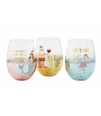 Mud Pie Sea Christmas Wine Glasses