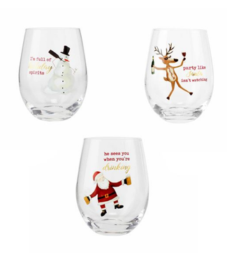 Mud Pie Christmas Icon Wine Glasses