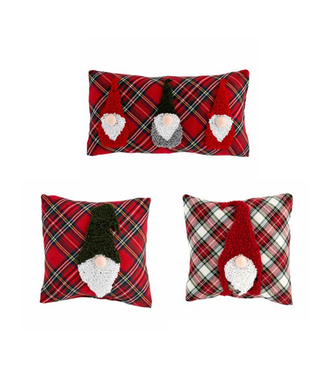 Mud Pie Tartan Gnome Pillow