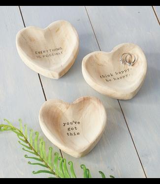 Mud Pie Wood Heart Trinket Dish