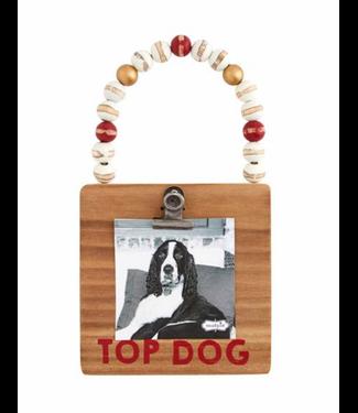 Mud Pie Top Dog Wood Frame Ornament