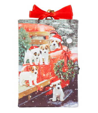 "6"" Puppy Lighted Print Ornament with Easel Back"