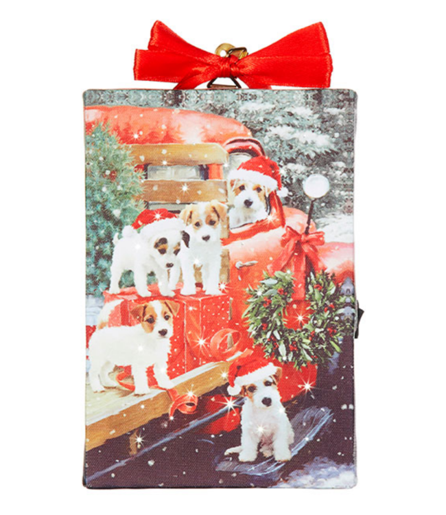 """6"""" Puppy Lighted Print Ornament with Easel Back"""