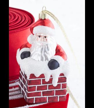 """EC 4.5"""" Santa in Chimney Ornament"""