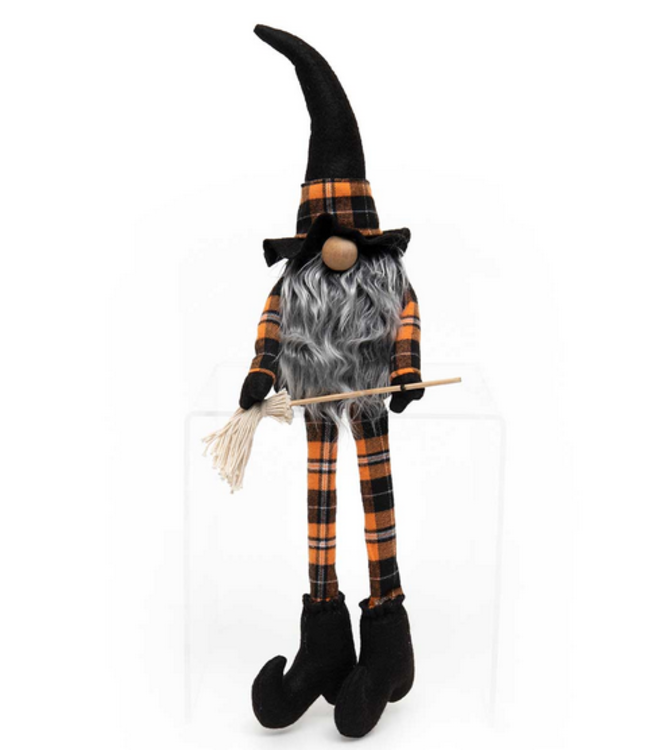 "22"" WITCH GNOME WITH BROOM, WOOD NOSE"