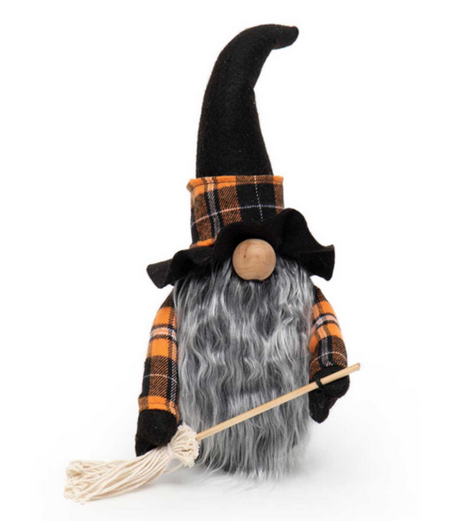 "13"" Witch Gnome with Broom"