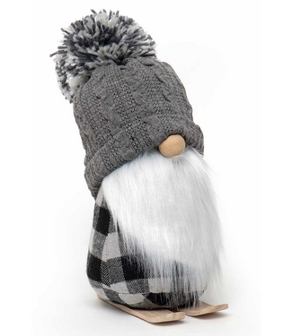 Gnome on Skis with Grey Pom-Pom