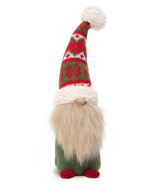 "13"" Gnome Standing with Red/Green Sweater Hat"
