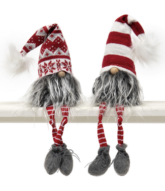 """18.5"""" Gnome with Puff, Wired Red/White Hat"""