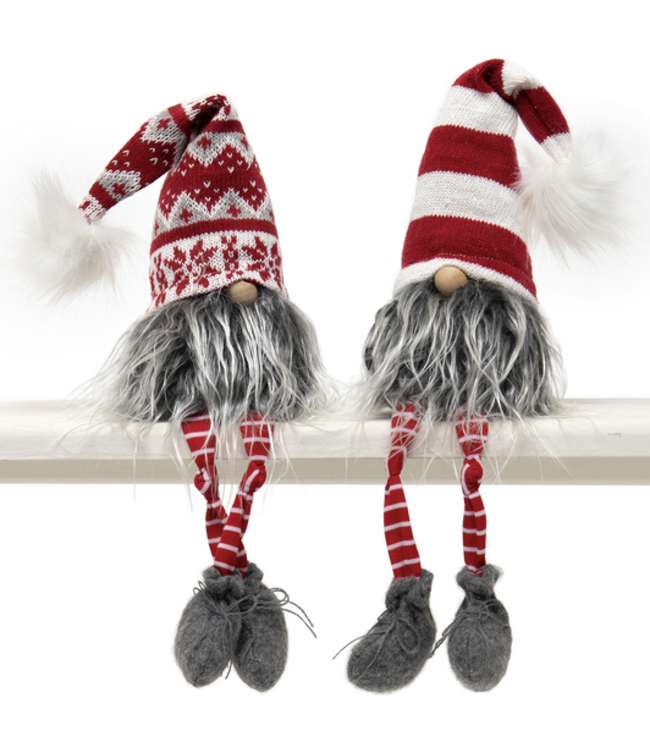 "18.5"" Gnome with Puff, Wired Red/White Hat"