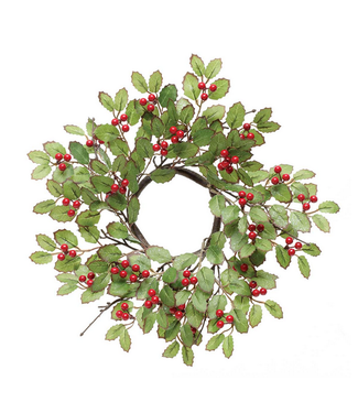 Holly Wreath with Red Berries 15""