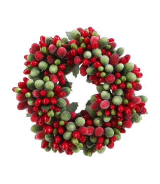 "4"" Beaded Berry Candle Ring Red & Green"