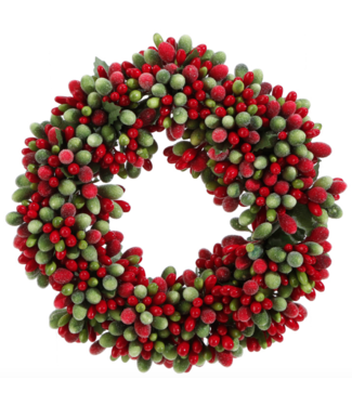 """6.5"""" Beaded Berry Candle Ring Red and Green"""