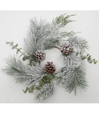 """16"""" Eucalyptus Pine Frost Candle Ring"""