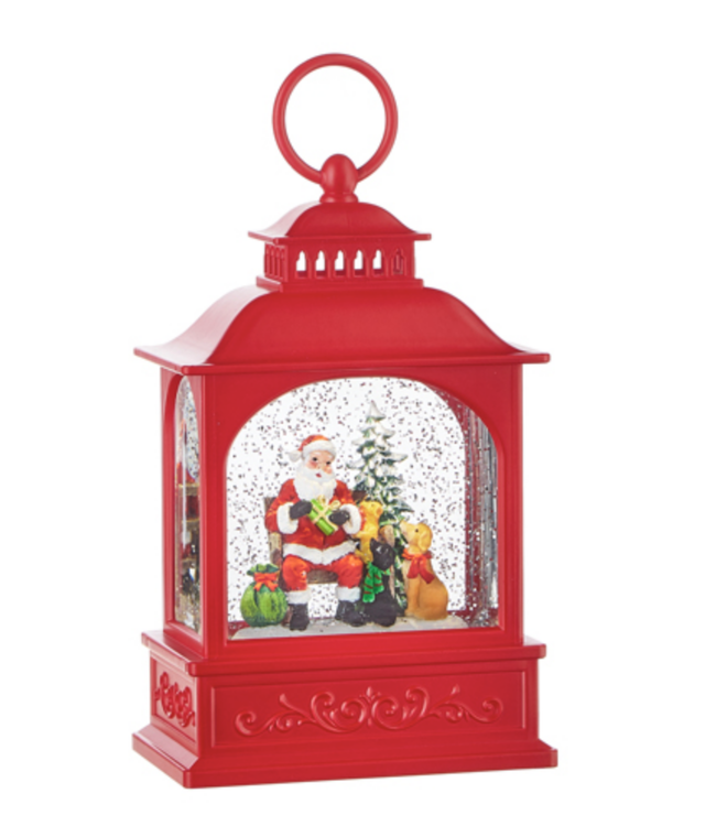 "8.5"" Dogs Visiting Santa Lighted Water Lantern"