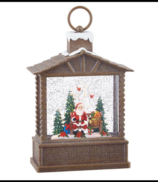 """10"""" Santa Lighted Water Log Cabin Lantern"""