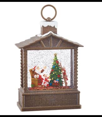 "10"" Santa and Elves Lighted Water Log Cabin Lantern"