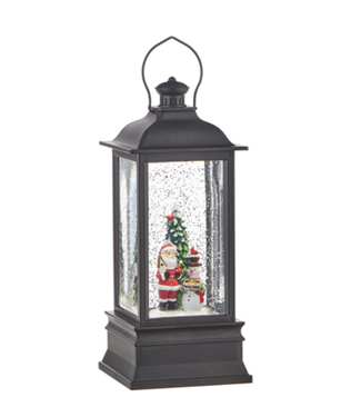 "8.75"" Santa and Snowman Lighted Water Lantern"